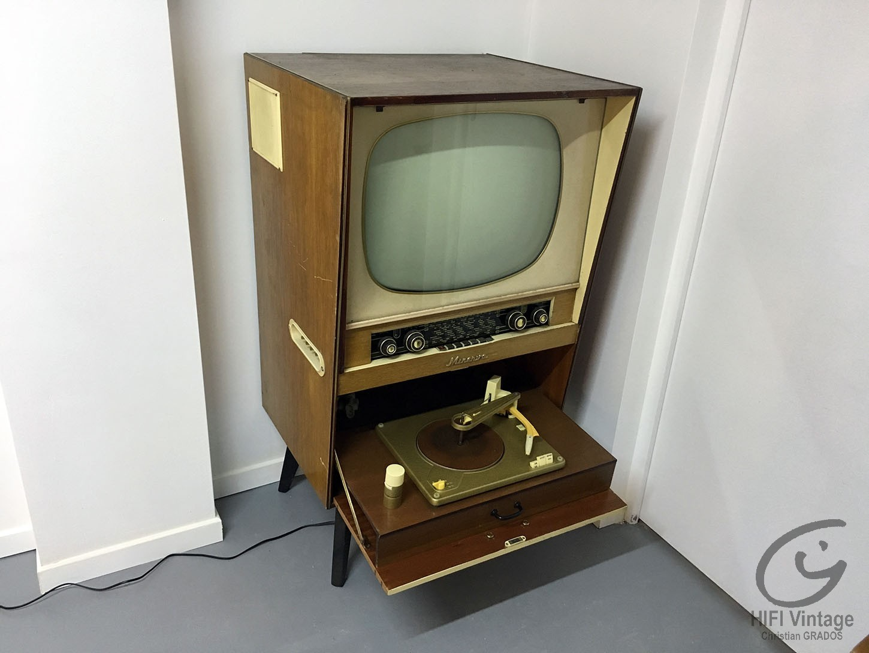 Minerva combiné Radio PU TV 1952 Hifi vintage réparations