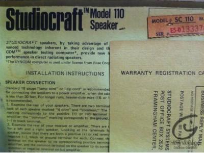 Studiocraft-Bose Model 110